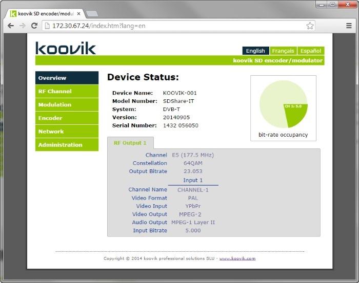 koovik SD digital modulator web set-up